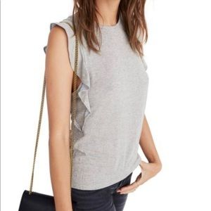 Madewell Metallic Cloud Ruffle Tank Top Crew Neck
